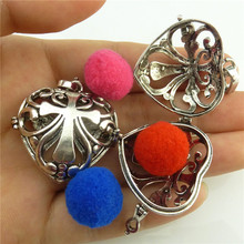 Free shipping Aromatherapy Cross Heart Locket Copper Vintage Silver Pendant(China)