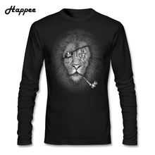 Animal Lions Life Men T Shirt The Bad Pirate Clothing T-shirts Male 100% Cotton Abstract Printing Long Sleeve Tee Shirt For Male