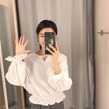 Crochet Ruffles Puff Sleeve White Blouse Princess Crop Top Kawaii Spring Summer Shirt Women Chemise Femme Blusa Blanca Mujer