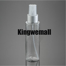 Free shipping 300pcs/lot 100ml PET Plastic empty beautiful perfume water SPRAY bottle with FLAT shoulder CLEAR  color