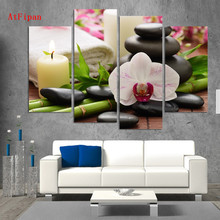 AtFipan SPA Wall Canvas Artwork Painting HD Candles Spa stone Stone Bamboo Wall Pictures For Living Room Vintage Wall Art Poster(China)