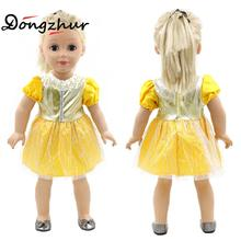 "Dongzhur 18 Inch American Girl Doll Clothes ins Hot Sale Doll Clothes 18""American Girl Handmade Clothes Yellow Princes Skirt(China)"