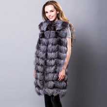 Real Silver Fox Fur Vests Sleeveless Covered Button Winter Red Fox Fur Coats Fur Coats Long Women's Vest Natural Silver Fox Fur(China)