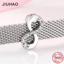 Fashion 925 Sterling Silver sparkling Infinity love symbol Clips bead Fit Original reflection Bracelet Jewelry making(China)