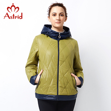 Astrid 2018 Woman Jacket Plus Size Hooded Fashion brand Winter Coat office lady cotton zippers patchwork short Big Size AM-2810(China)