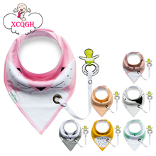 XCQGH 2017 Baberos Bebes Baby Bibs Easy to Carry Nipple with Rope Cartoon Infant Cotton Bandana Dribble Bib For Newborn Feeding(China)