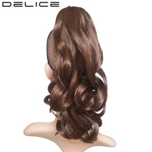 DELICE 16inch Light Brown Natural Black Women's Curly Claw Ponytail High Temperature Fiber Synthetic Hair Piece
