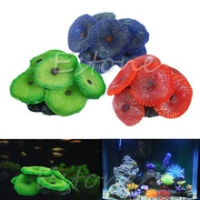 New Aquario Decoration Artificial Coral Plant Fake Soft Disc Ornament Decoration For Aquarium Fish Tank Green Blue Red 3 Colors(China)