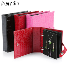 Earrings Carrying Book Jewelry Organizer Creative Earring Storage Jewelry Travel Packing Necklace Holder Jewelry Display A299(China)