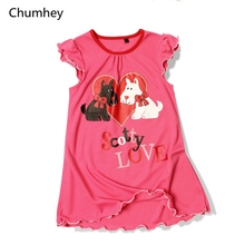3-10 Years Little Girls Dress Summer Cute Dog Nightdress Kids Nightgown casual pajamas Children Clothing Girl Clothes Pink