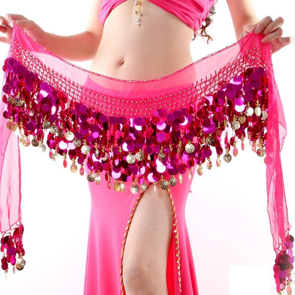 b23289953 2019 Belly Dance Skirt Hip Scarf Sequin Fringe Wrap Coin Belts ...