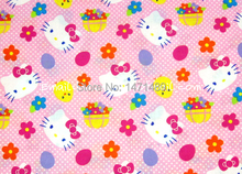 hk069 - 1 Yard Cotton Woven Fabric - Sanrio Cartoon Characters, Hello Kitty, Chicken, Basket of Flowers - Pink (W105)