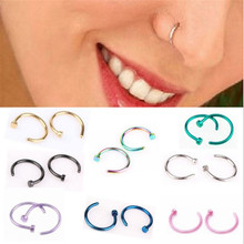 1Piece New Fashion Anodized Stainless Steel Body Jewelry Gold Silver Black Fake Nose Piercing Nose Rings And Studs For Women