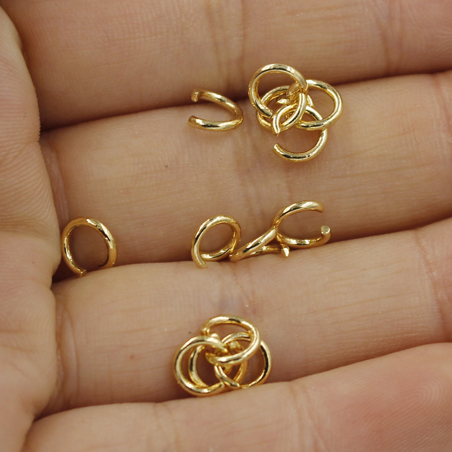 Brass Jewelry DIY Brass Findings 10pcs 6mm 18K Gold Plated Hollow Bracelet Rings Buckle Ring Link TP03 Bracelet Buckle Connecting Ring