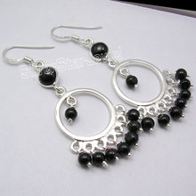 Silver Real BLACK ONYX Beads Dangle Earrings 5.5CM(China)