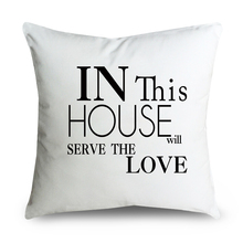 Serve Love Cushion Cover,Sweet House Pillow Case,Black Monogram Pillowcase,Canvas Decorative Throw Pillow Cover,Christmas Decor(China)