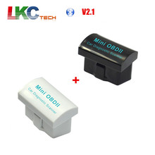 Good Price 1pcs Black MINI OBD2 ELM327 +1pcs White Mini OBD2 ELM327 V2.1 Bluetooth Auto Car Scanner Diagnostic Interface