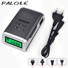 PALO LCD Quick Charger with 4 Slots LCD Display Smart Intelligent Battery Charger for AA / AAA NiCd NiMh Rechargeable Batteries(China)