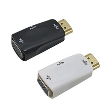 10pcs Male to Female for HDMI to VGA Converter With Audio Cable for PC Laptop Tablet Support 1080P HDTV Adapter(China)