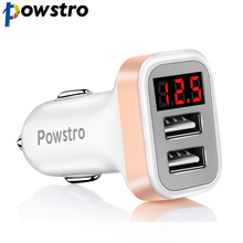 Powstro 2.1A Car Charger Voltage Current Display 2 USB Charger DC12-24V Low Voltage Warning Charge For Cellphone Tablet DVD(China)