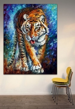 100% Hand-painted Animal Painting-Strong Tiger Oil Painting Painted On Canvas for Living Room Bedroom Decoration