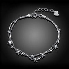 2017 Fashion 925 Sterling Silver Bracelets For Women Trendy Star Jewelry Charm Bracelets & bangles For Girls Gift Link Chain