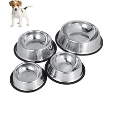 Dog Bowl Stainless Steel Travel Feeding Feeder Water Bowl For Pet Dog Cat Puppy Food Bowl Water Dish 4 Sizes(China)