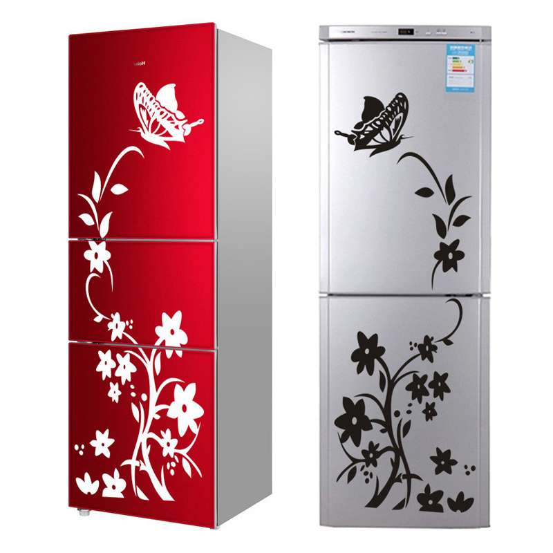 High Quality Creative Refrigerator Black Sticker Butterfly Pattern Wall Stickers Home Decoration Kitchen Wall Art Mural(China)