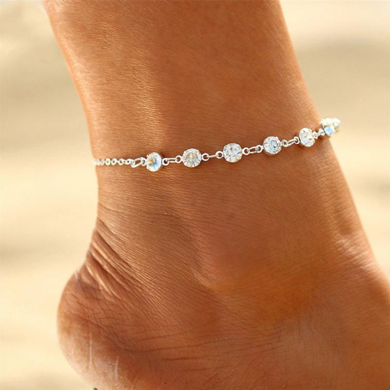 Women Silver Metal Boot Chain Anklet Bracelet Shoe Mini Handcuffs Charm Jewelry