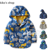 Autumn and spring children's  waterproof  Wind Hooded Jackets Baby boys thin Cartoon Jacket boy windbreaker children