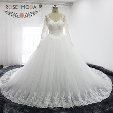 Buy Rose Moda V Neck Long Sleeves Princess Wedding Dresses Royal Train Illusion Lace Back Puffy Wedding Ball Gown for $302.68 in AliExpress store