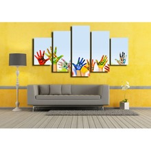 Colorful palms smiling face canvas wall art abstract print home decor for living room modern pictures 5 panel large poster HD(China)