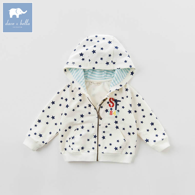 DBA6406 dave bella spring infant baby boys fashion stars print hooded coat kids toddler children hight quality clothes <br>
