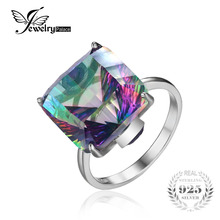 JewelryPlalace Brand New Hot Sale 10.3ct Genuine Rainbow Fire Mystic Topaz Ring Best Gift Women Solid 925 Sterling Silver Set