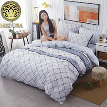 Medusa Grey Checked Nordic bedding set king queen double single size bed linen set