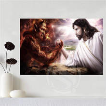 Custom canvas poster Oil Painting God and devil Home Decoration poster cloth fabric wall poster print Silk Fabric Print SQ052