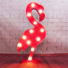 12inch metal LED flamingo light LED Marquee Sign LIGHT UP night light Indoor Deration customize order(China)