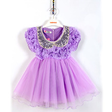2016 Elegant Girl Dress Sequin Baby Girl Lace Flowers Princess Dress Stylish Shortsleeved Baby Girl Tutu Dress Childrens Dresses