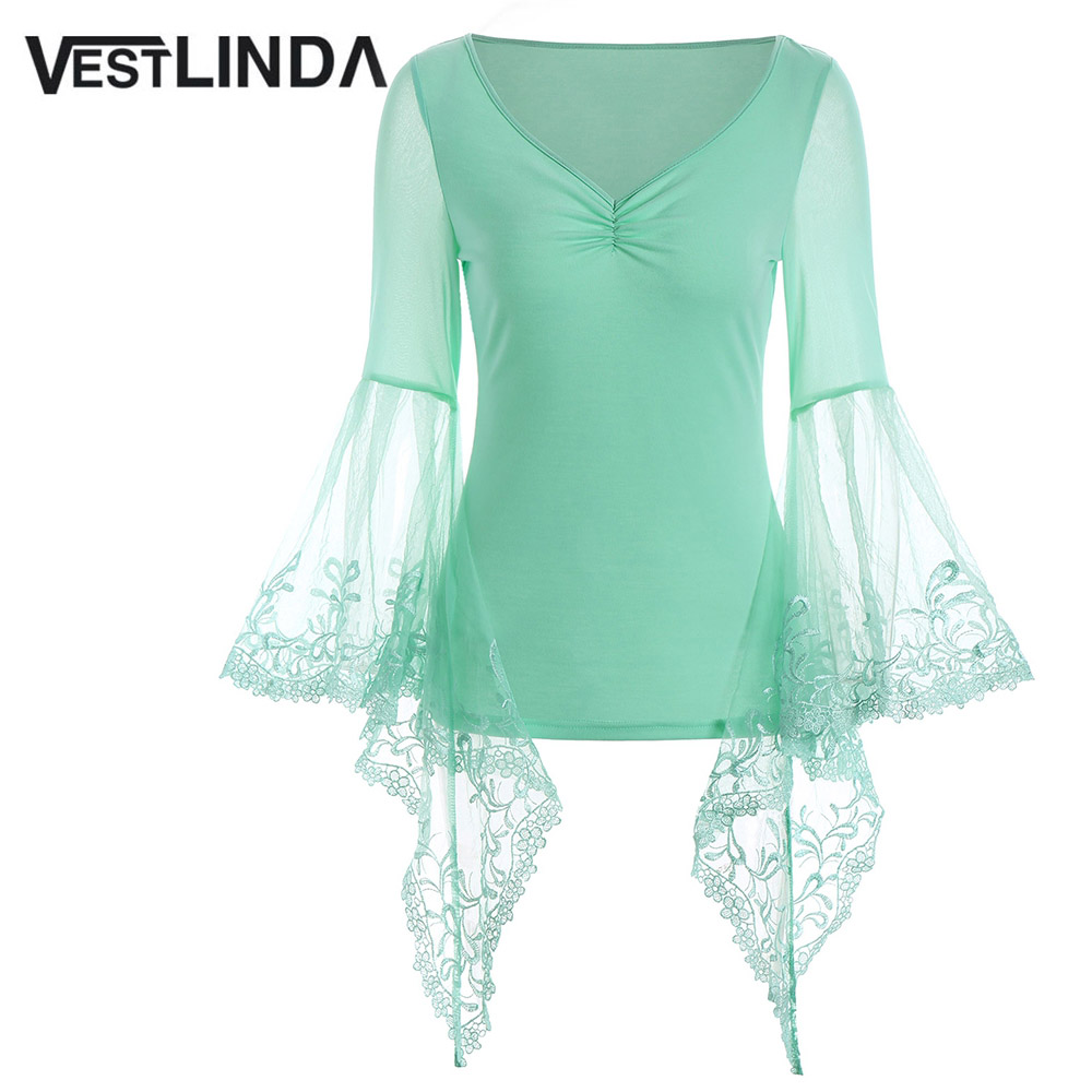 VESTLINDA Lace Flare Sleeve Sheer Panel Blusa Top Women Blouse Shirt Blusas Mujer 2017 Plus Size Women Clothing Summer Blouses 1