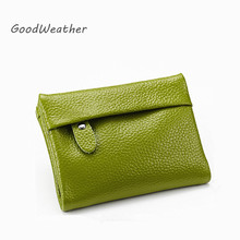 Fashion mini green coin purse designer women's purses for change 100% real leather bag soft ladies coin money card bags 7color