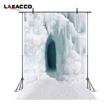 Laeacco Winter Frozen Ice Hole Scenic Photography Backgrounds Vinyl Digital Camera Photographic Backdrops For Photo Studio Props(China)