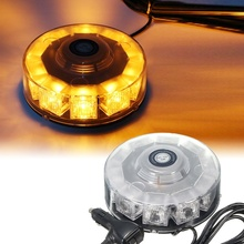 Amber 30W Auto 10 LED Round Beacon Emergency Strobe Flashing Warning Lights Round Car Roof for Police Lightbar Road Safety Light