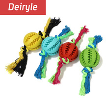 New Product Dog Toy Rubber Watermelon Ball With Rope Clean Teeth Ball Chew Non-toxic Dog Interaction Toys For Dogs Bored(China)