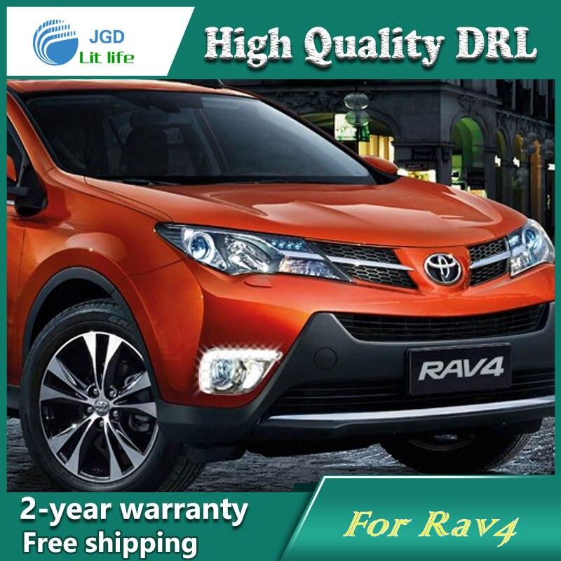 Free shipping ! 12V 6000k LED DRL Daytime running light case for Toyota RAV4 2013 fog lamp frame Fog light Car styling<br>