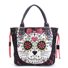 Women Lady Girl Sugar Skull Kitty Cat Candy Handbag School Shoulder Bag Gothic Punk Rockabilly