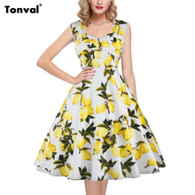 Tonval Women Vintage Dress Lemon Pattern Print 1950s Rockabilly Evening Party Backless Sexy Summer Floral Midi Dresses