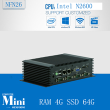 N2600 with CPU N2600 6 COM/ 4 USB/ 2 LAN 3.5inch Fanless Mini PC RAM 4G SSD 64G