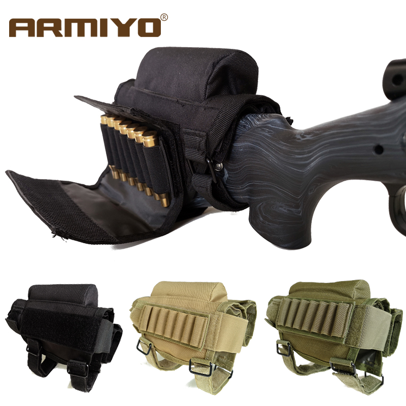 Rifle Cheek Rest Pouch Portable Adjustable Tactical Buttstock Ammo Cartridge Bag
