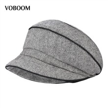 VOBOOM Retro Vintage Striped Girl Women Wool Blend Felt Floppy Fedora Bowler Cloche Hat Female Lady Cap 308(China)