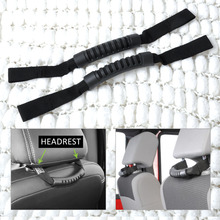13305.11 1Pair Black Grab Handle Back of Front Seat Mount Headrest for JEEP Wrangler Grand Cherokee Patriot Wagoneer Compass